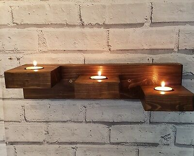 Solid Wood Wall Mounted Stepped Tealight Holder - Floating Candle Holder