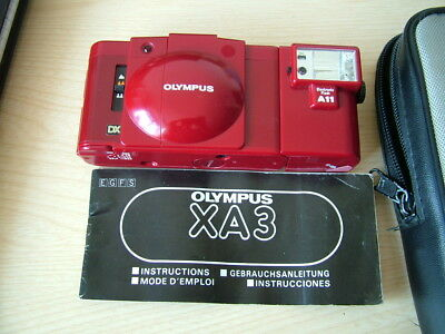 Vintage Olympus XA3, 35mm Film Camera with Flash Unit. Case & Instructions. Red.