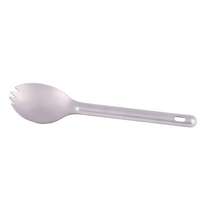 EE/_ OUTDOOR CAMPING DOUBLE ENDED PURE TITANIUM SPOON FORK TABLEWARE SPORK STUNNI