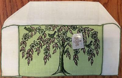 Vtg NWT Imperial 100% Belgian Linen long 4 slice Tree of Life toaster cover cozy