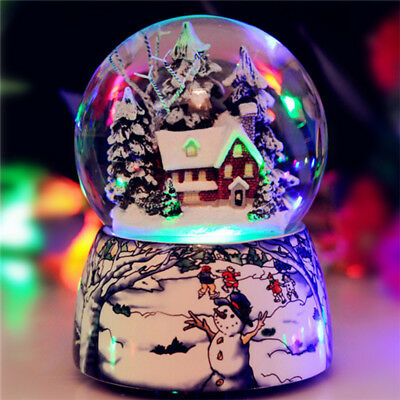LED Light Snow & Tree House Musical Water Snow Globe Music Box Xmas Crafts Gift