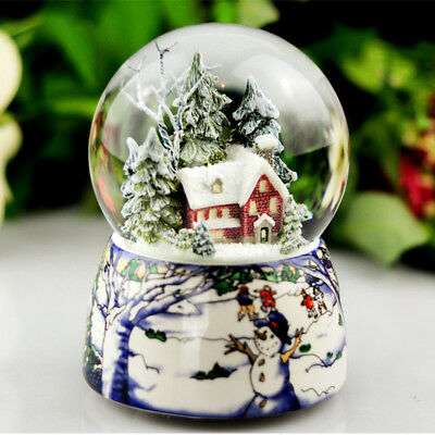 AU Snow Tree & House Waterball Snow Globe Musical Box Rotating Xmas Crafts Gifts