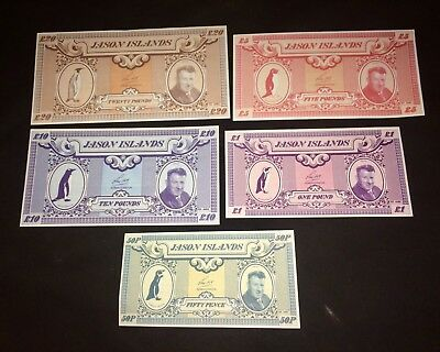 1x Jason Islands Full Set 5 Banknotes Pounds Dollar Uncirculated 1979