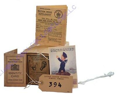 Wartime Memorabilia 1940's Gas Mask Box-Ration Book-ID Card-Postcard & Label Set