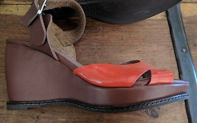 Brand New Django and Juliette tan leather wedges size 37