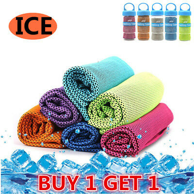 2*Instant Cooling Towel ICE Cold Golf Cycling Jog Gym Sport Outdoor Double Layer