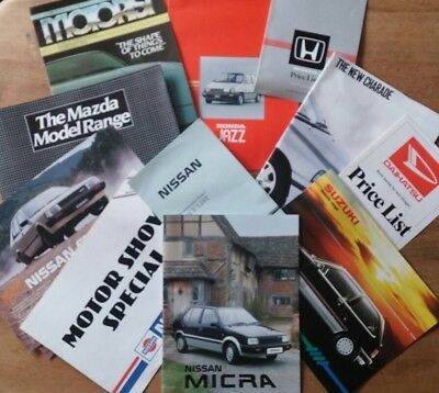 1980s Japanese car brochures and price lists- Honda,Daihatsu,Suzuki,Mazda,Nissan