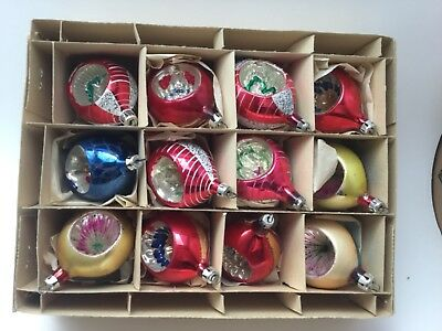 Vintage Christmas Ornaments Indents With Original Box