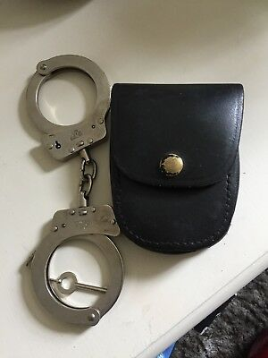 Real Chain Link Handcuffs Police Military