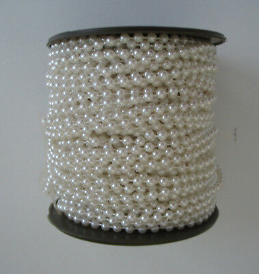 5metre String of White Faux Pearl Acrylic Beads 3mm