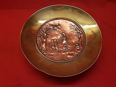 Antique Depose Brass and Hammered Copper Arts And Crafts Dish.