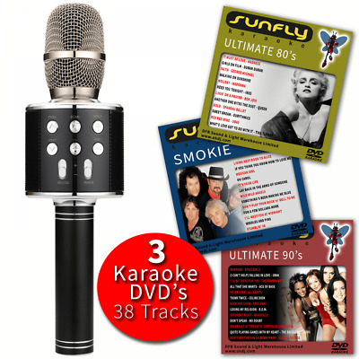 Pink Karaoke Microphone Wireless with Built-In Speaker PA Voice Effects Inc DVDs