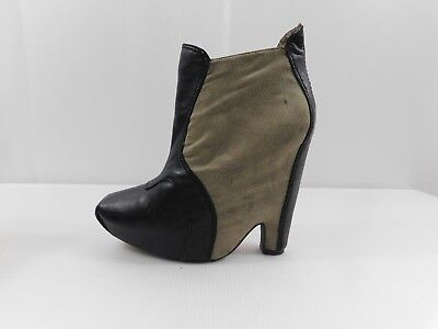 fd98f7a449eb Sam Edelman ZOE Khaki   Black Leather Wedge Bootie Women s Size ...