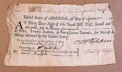 Francis Hopkinson Signed Continental Loan Office Fourth Bill of Exchange 1779
