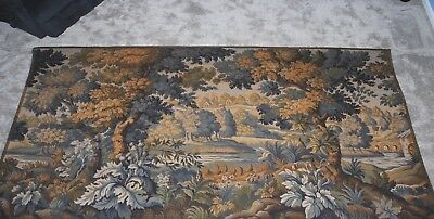"ENORMOUS  Vintage French Wall Hanging Tapestry Verdure 113"" by 70"""