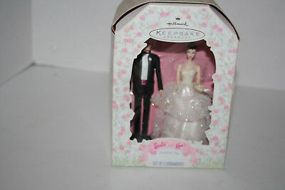 1997 Hallmark Barbie and Ken Wedding Day Ornament Set of 2 Ornaments in Box