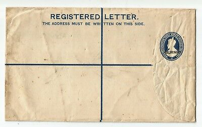 Burma George  V  Pre-Paid Registered Envelope Unused But Tatty
