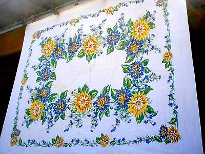 Vintage 40's Green Blue Yellow Flower floral Laceleaf tablecloth