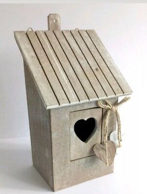 Bird Box Home Nest Shabby Chic Garden Wooden Uk Robin Sparrow Small New
