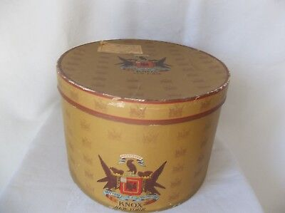 Vintage Knox New York Hat Box with Graphics Oval 1947 Delivery Sticker on Top