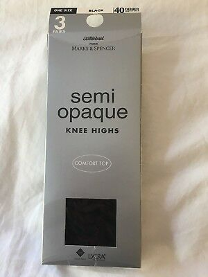 M&S Semi Opaque Knee Highs - 40 denier appearance - 3 Pairs - Black - One Size