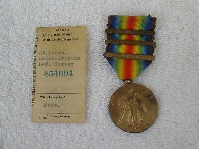 Used WW I Victory Medal with 3 Battle Bar Clasps