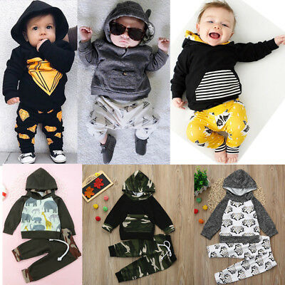Newborn Infant Kids Boy Hoodie Tops T-shirt+Long Pants 2PCS Outfits Clothes 2018