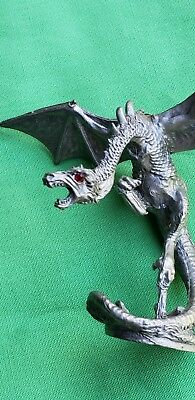 vintage partha pewter winged dragon with red crystal eyes