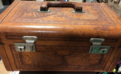 Vintage Tooled Leather Train Case Vanity Jewelry Luggage Mexico