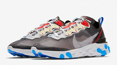 NIKE REACT ELEMENT 87 Grey Red Blue Limited Edition Rare
