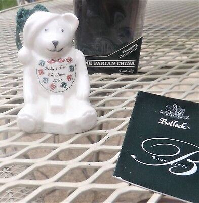 2001 Belleek Baby's First Christmas Bear Ornament In Box