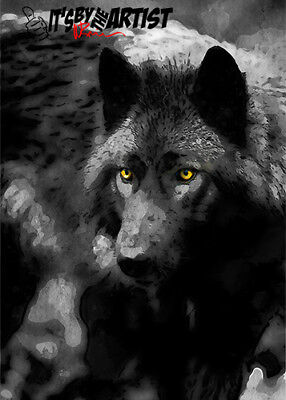 ACEO Black Wolf