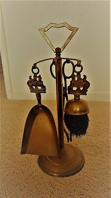 """Vintage Mini Fireplace Tool Set Brass  """"The Victory """"  England 4 pieces Antique"""