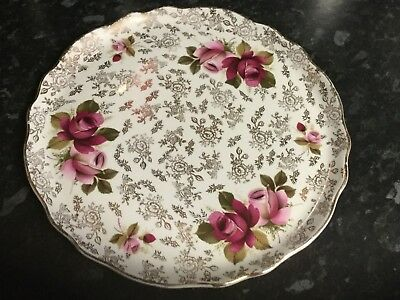 Pretty Vintage Large China Cake Plate / Platter Chintz Roses Old Foley 🥀