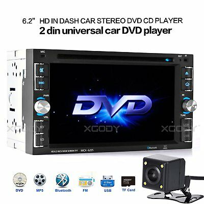 """Car Stereo Radio DVD CD MP5 Player 6.2"""" Touch Screen Bluetooth 2DIN + Rear Cam"""