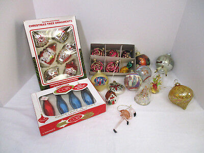 27 Vintage-To Modern Glass Christmas Ornaments-Figural-Plus Teardrop Plus