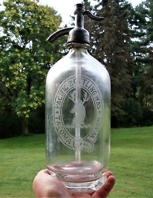 Early Footed Base ~ PACIFIC BOTTLING WORKS WESTERN SELTZER BOTTLE TACOMA, WASH.