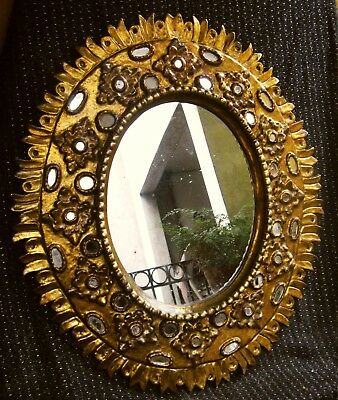 BIG AMAZING ANTIQUE SUNBURST HAND CARVED GILT WOOD MIRROR 19thc