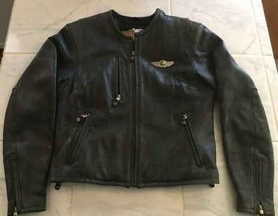 Harley Davidson Women's 100th Anniversary distressed Leather Jacket. L Large