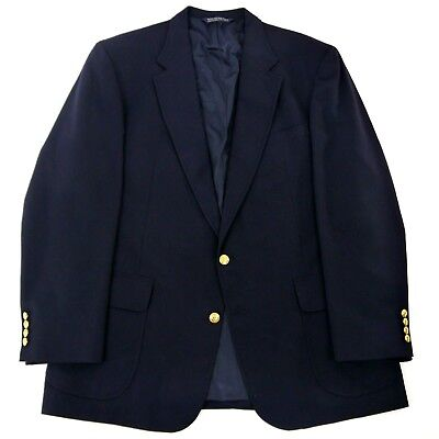 Lands End Navy Blue Blazer 2 Gold Buttons 100% Wool Full Lining Tag Size 46L