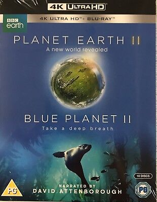 Planet Earth II/Blue Planet II (4K Ultra HD + Blu-ray) [BBC 4K UHD] New Sealed