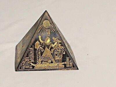 "3"" Vintage Egyptian Mixed Metal Pyramid Etched Brass/Copper/Bronze Ancient Egypt"