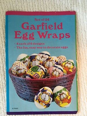 New Vintage No Mess Easter Egg Decorating Wraps Set of 24 Garfield Cartoon Cat