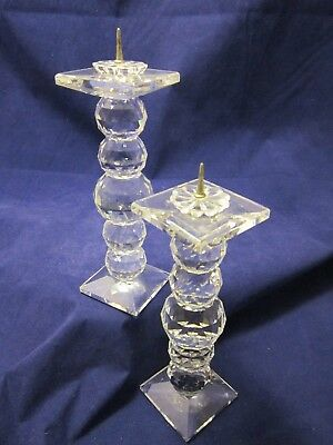"""Swarovski Crystal 6"""" Pair (2) Candleholders111/7600 Excellent Condition"""