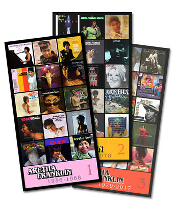 """ARETHA FRANKLIN triple pack discography magnets (4.75"""" x 3.75"""" ea.)"""