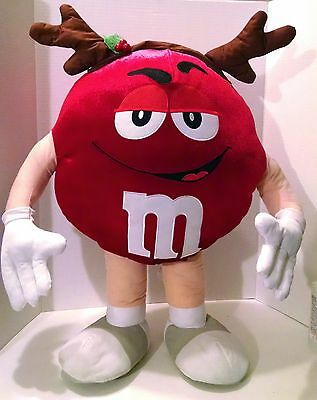 """LARGE RED M&M STAND UP FIGURE Plush Holiday Antlers 30"""" Christmas Chocolate"""