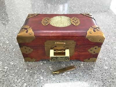 Vintage Chinese Wooden Box With Inlaid Carved Jade And Engraved Brass Details