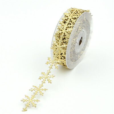 10 Meters Snowflake Ribbon Trims for Christmas Gift Wrapping Gold 25mm Wide