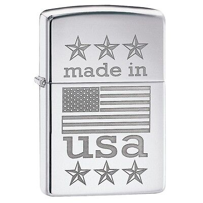 "Zippo ""Made in USA-Flag"" High Polish Chrome Finish Full Size Lighter, 29430"