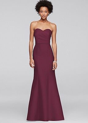 Only worn once David's Bridal Structured Mikado Dress Wine Colored Gown